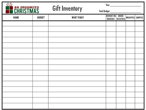 gift inventory spreadsheet organization ideas cleaning