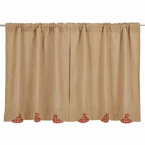 burlap  scallop check curtains pair www