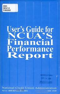 User U0026 39 S Guide For Ncua U0026 39 S Financial Performance Report