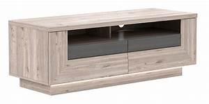 Meuble Chene Gris : meuble tv 2 tiroirs stairs chene cendre gris ~ Teatrodelosmanantiales.com Idées de Décoration