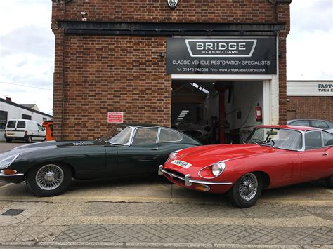 Jaguar E-types Outside Bridge Classic Cars