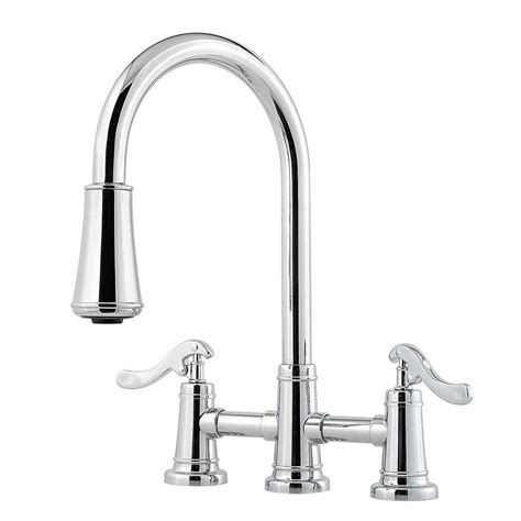 two handle kitchen faucet with sprayer pfister ashfield 2 handle pull down sprayer kitchen faucet with bridge in polished chrome lg531