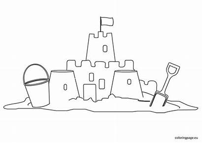 Sand Castle Coloring Pages Sandcastle Summer Easy