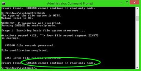chkdsk cannot continue in read only mode