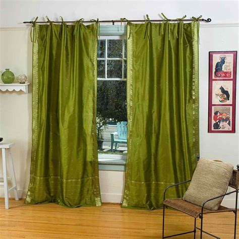 olive green tie top sheer sari curtain drape panel