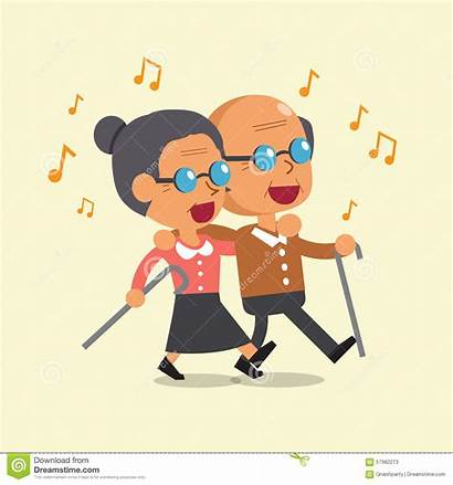 Cartoon Walking Woman Singing Together Clipart Person