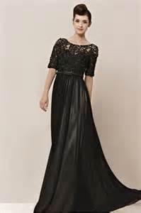 abendkleider lang designer gorgeous couture black chiffon half sleeves evening dress 2301552