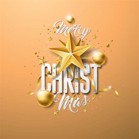vector merry christmas illustration  gold glass ball