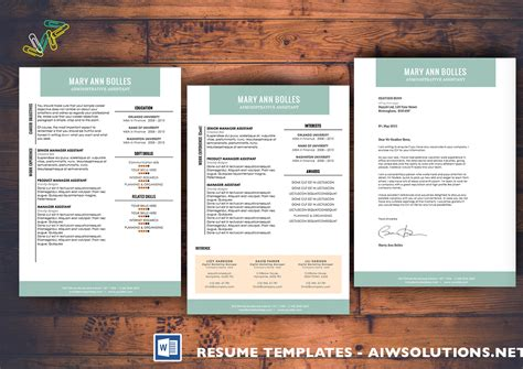 professional resume template cv template extra page