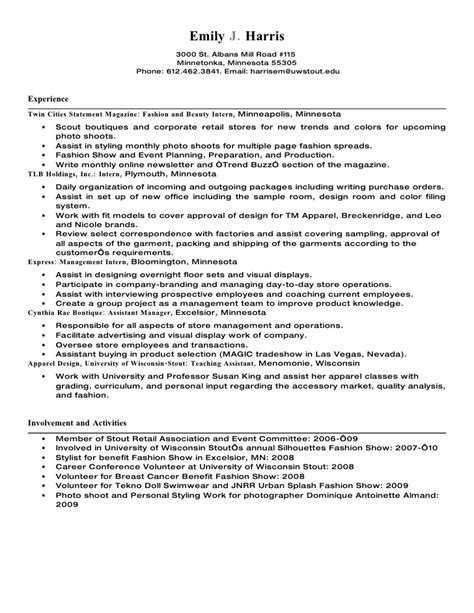 visual merchandising manager resume sle 28 images