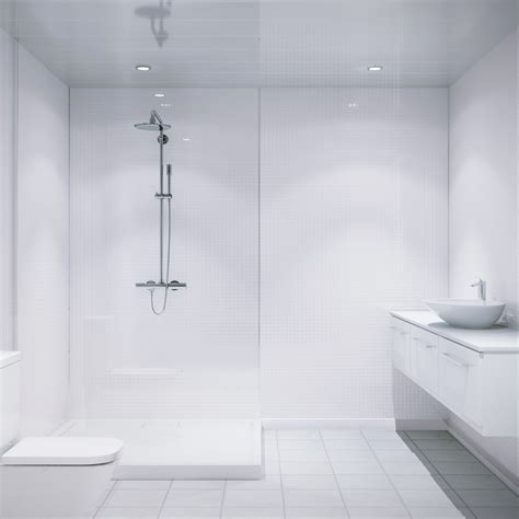 multipanel white embossed tile mm  mm bathroom