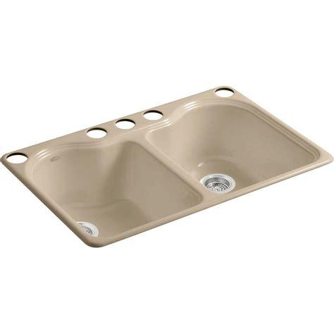 33 undermount kitchen sink kohler wheatland undermount cast iron 33 in 5 hole double