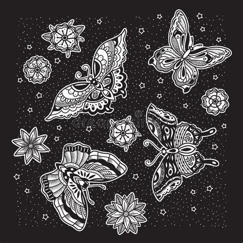 tatuaggio farfalla con fiore disegno tatuaggio della farfalla illustrazioni