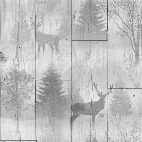 graham brown highland forest wooden plank stag wallpaper