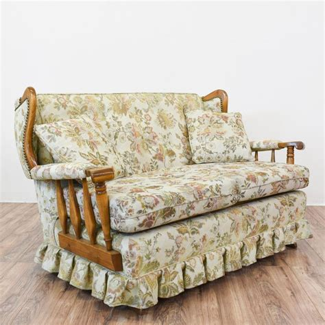 fabric sofa with wood trim this rocking sofa is featured in a solid wood with a