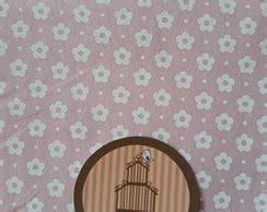 TC277 Tecido flor de algodão fundo rosa no Elo7   Pannobom ...