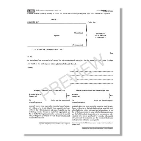 Free Consent To Change Attorney Form by Ny Consent To Change Substitution Of Attorney Form