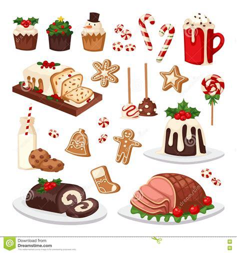 traditional christmas clip set christmas food vector set stock vector image of decoration 79761535