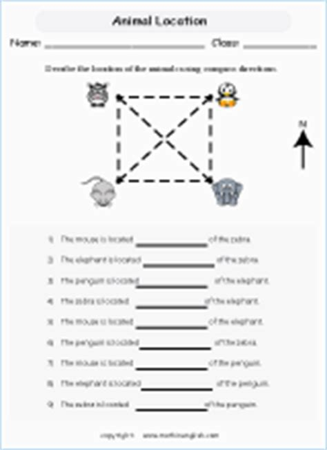 compass directions printable grade  math worksheet