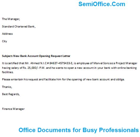 bank account opening letter  company employee