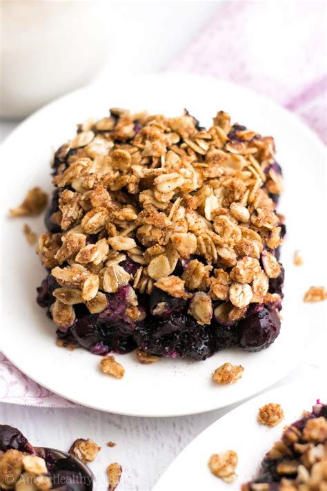 A portion of the blueberries is cooked with sugar and cornstarch to form a blueberry glaze that binds the filling. low calorie blueberry crisp