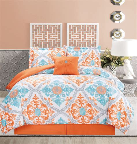 orange comforter set 5 regal orange blue white comforter set ebay