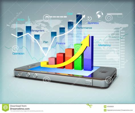 smartphone information business on a smartphone stock illustration image of