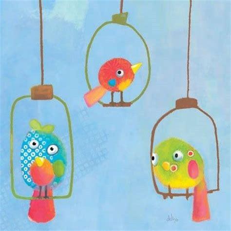 toile chambre bebe tableau enfant carré 3 oiseaux lilipinso tableaux