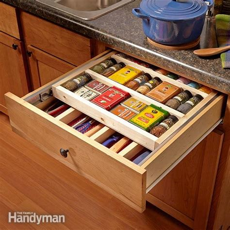 spice drawers kitchen cabinets two tier drawer spice rack the family handyman 5649
