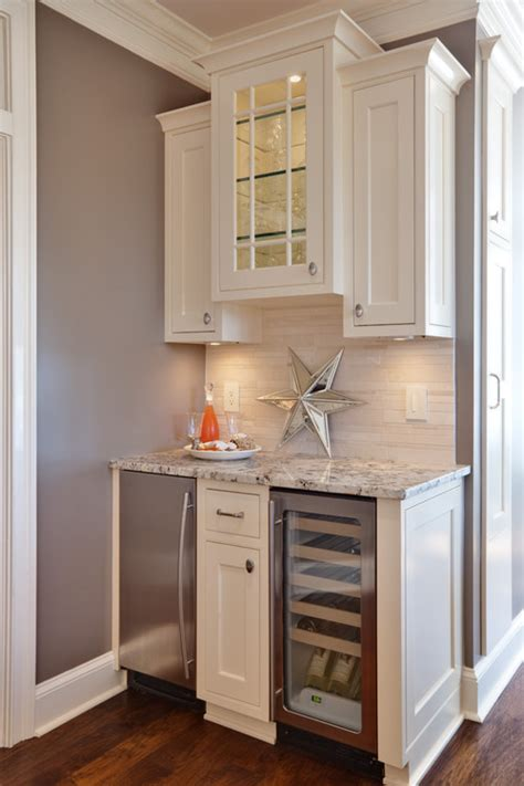bar cabinet with fridge space finding room for an undercounter wine refrigerator