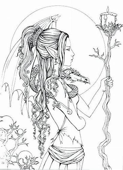 Coloring Pages Gothic Fairy Adult Fairies Printable