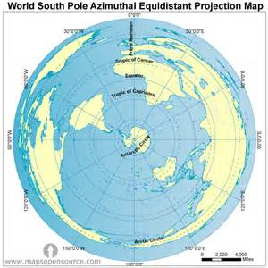 free world south pole azimuthal equidistant projection map