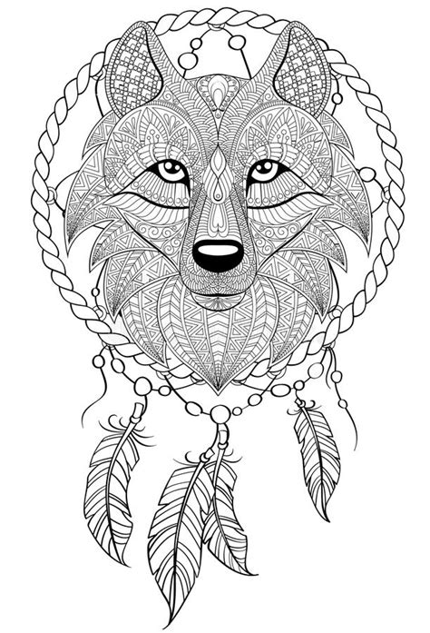 Dream Catcher With Wolf. Tattoo Or Adult Antistress Coloring Page. Black And White Hand Drawn