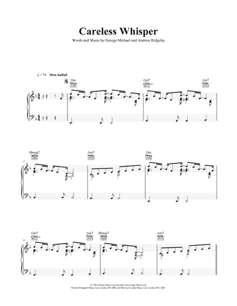 Related sheet music you may also like. Careless Whisper sheet music by George Michael (Piano, Vocal & Guitar (Right-Hand Melody) - 40722)