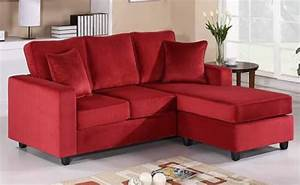 Red wine velvet sofa sectional reversible chaise for Red velvet sectional sofa