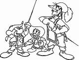 Musketeers Three Coloring Pages Disney Mickey Donald Mouse Duck Goofy Wecoloringpage sketch template