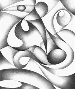 Original abstract drawing black and white geometric freehand