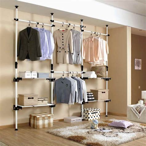 Open Closet Organization Ideas by Closets Storages Diy Open Closet With Pipe Wire