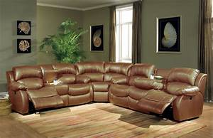 Nautical living room design present brown leather for Sectional sofa with two recliners
