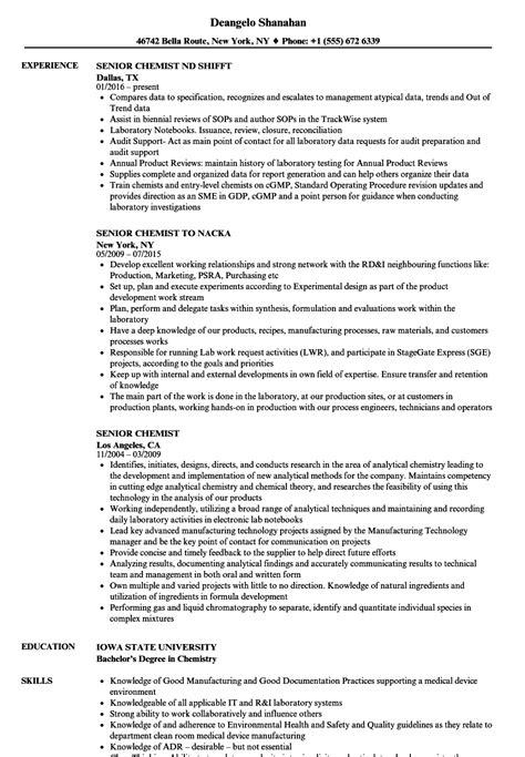 Chemist Resume by Senior Chemist Resume Sles Velvet