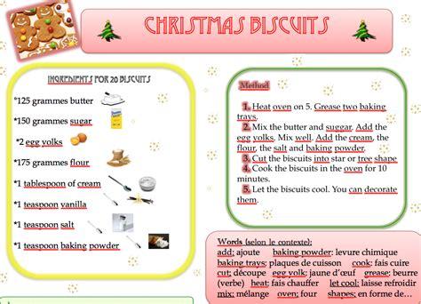 jeux de cuisine faire des gateaux recette de noël en anglais à cartable ouvert