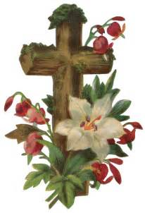Vintage Easter Cross with Flowers