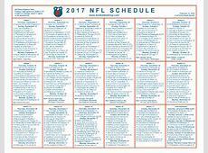 nfl printable weekly schedule 2018 Maggilocustdesignco