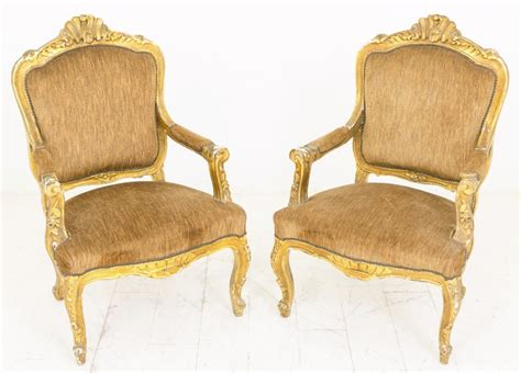 Pair Of French Gilt Open Armchairs C.1910