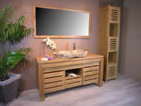 meuble de salle de bain en teck zen double vasque 145cm With sdb teck