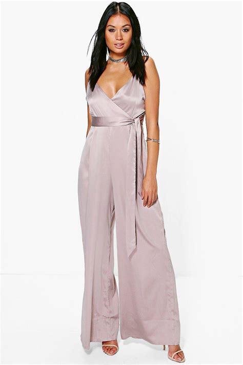 ebay jumpsuit boohoo womens wrap front strappy satin jumpsuit ebay