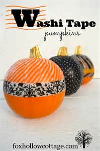 Cute Pumpkin Carving Ideas Easy by No Carve Pumpkin Decorating With Washi Tape Fox Hollow