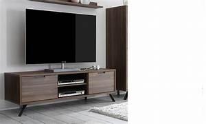 Meuble Tv Bois Foncé : meuble tv contemporain couleur bois fonc lenexa ~ Teatrodelosmanantiales.com Idées de Décoration