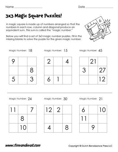 3x3 magic square worksheet for math printables in