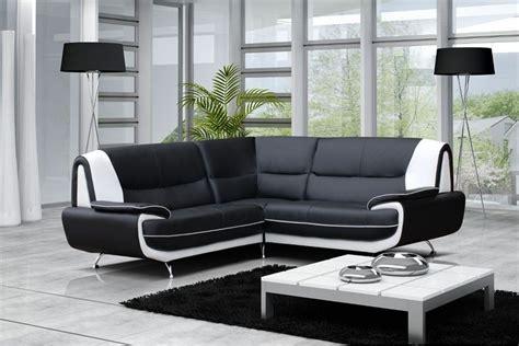 canapé d angle cuir noir et blanc canapé moderne simili cuir réversible gris noir